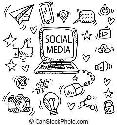 Set of social media doodle.