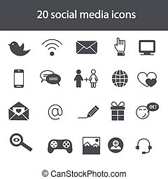 Set of social media icons. Vector illustration