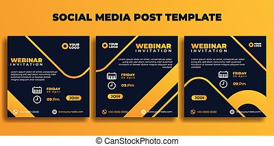 Set of Social media post template. Webinar invitation banner with dark blue and yellow color design.