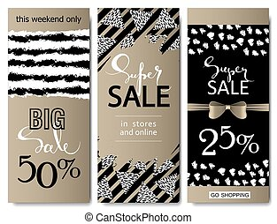 Set of social media sale website and mobile banner templates with golden texture. Vector banners posters flyers email newsletter ads promotional material. Typography discount card design.