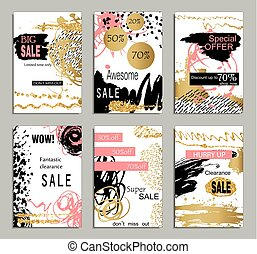 Set of social media sale website and mobile banner templates with golden texture. Vector banners, posters, flyers, email, newsletter, ads, promotional material. Typography discount card design.