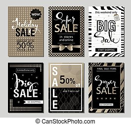 Set of social media sale website and mobile banner templates with golden texture. Vector banners posters flyers email newsletter ads promotional material. Typography discount card design