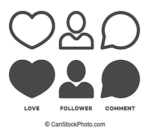 Set of social network icons black color isolated on white background for your social media app design project. Vector Illustration
