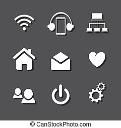 Set of social network icons with cloud computing, mail, people chat, heart and in white silhouette isolated on gray background.