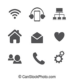 Set of social network icons with cloud computing, mail, people chat, heart and phone