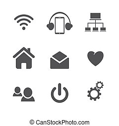 Set of social network icons with cloud computing, mail, people chat, heart and in black silhouette isolated on white background.