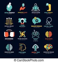 Set Of Social Relationship Logos - Brain works team balance...