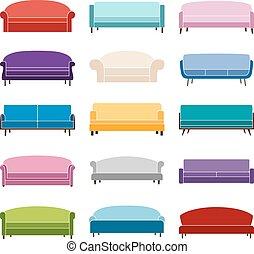 Set of sofa icons, vector illustration