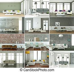Set of sofas in modern Interior design