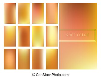 Set of soft golden gradients background