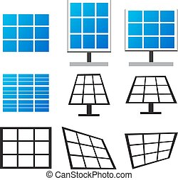 Set of solar panels in many style ,