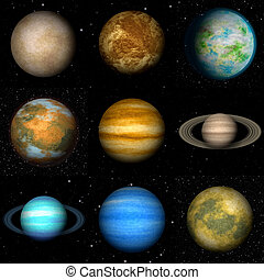 Set of Solar system planets generated textures