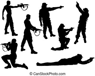 set of soldiers - vector illustration of soldier silhouettes...