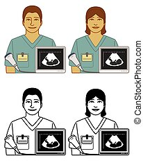 set of sonographer ultrasound technician vector icons male ...