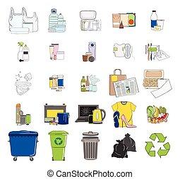 Set of sorted garbage icons. Recycle trash bins.