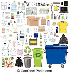 Set of sorted garbage, organic, metal, plastic, paper, glass, e-waste, special, mixed trash
