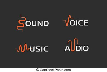 Set of sound wave abstract symbol, voice recorder logo template, music label, audio track sign. Vector logotype concepts.
