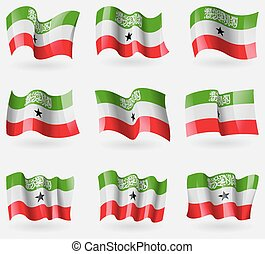 Set of South Africa flags in the air. Vector