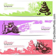 Set of spa banners. Vintage hand drawn sketch vector illustrations