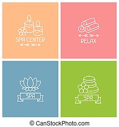 Set of spa labels in linear style