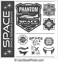 Set of space astronaut badges, emblems, labels and design elements.