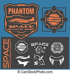 Set of space astronaut badges, emblems, labels and design elements.