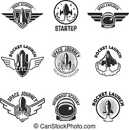 Set of Space labels. Rocket launch, astronaut academy. Design el