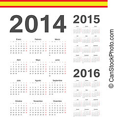 Set of spanish 2014, 2015, 2016 year vector calendars