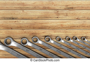 set of spanners as background 3d render on wood