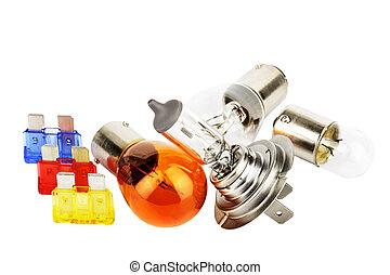 Set of spare car bulbs