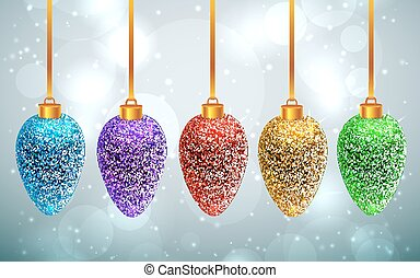 Set of sparkled rainbow Christmas toys