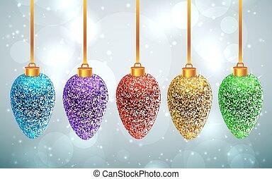 Set of sparkled rainbow Christmas toys