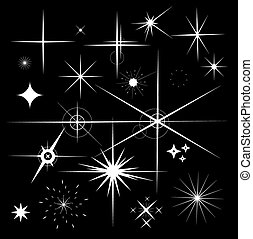 Set of Sparkles Star Vector. Sparkle white symbols on black background.