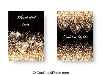 Set of sparkling background with hearts - Valentines Day...