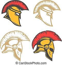 Set of spartan helmets. Design elements for label, emblem, sign, brand mark. Vector illustration
