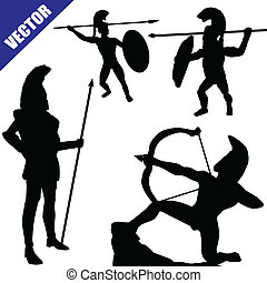 Set of spartan hoplite silhouettes on white background,...