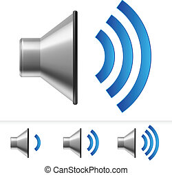 Set of speaker icons with different volume levels. ...
