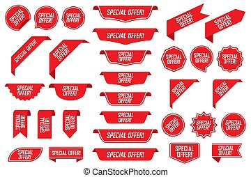 Set of special offer labels in red isolated on white background. Vector illustration