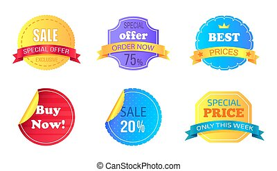 Set of Special Sale Stickers Vector Illustration