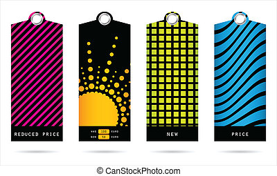 set of special trendy price tags for your shop