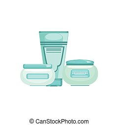Set Of Specialized Dermatological Skincare Cosmetics Line For Skin Problems Treatment With Two Creams And A Lotion