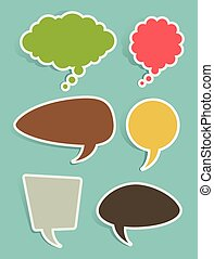 Set of Speech and Thought Bubbles - Retro speech and thought...