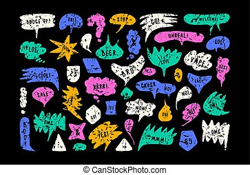 Set of speech bubbles in hand drawn style