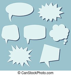 Set of speech bubbles on a blue background.