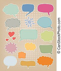 set of speech bubbles on brown carton background - set of...