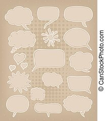 set of speech bubbles on brown carton background
