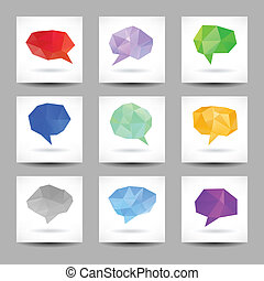 Set of speech bubbles with abstract triangles
