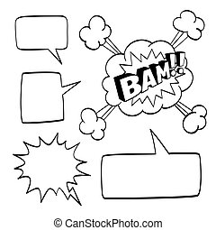 Set of speech comic bubbles isolated on white background....