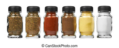 Set of spices in glass bottles, isolated on white background