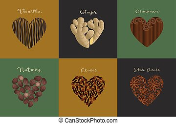 Set of spices in the heart shape. Vanilla, Ginger, Cinnamon, Nutmeg, Cloves, Star anise